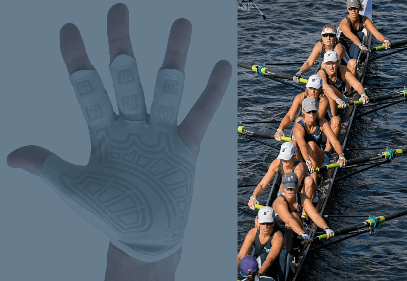 rowing glove on oar