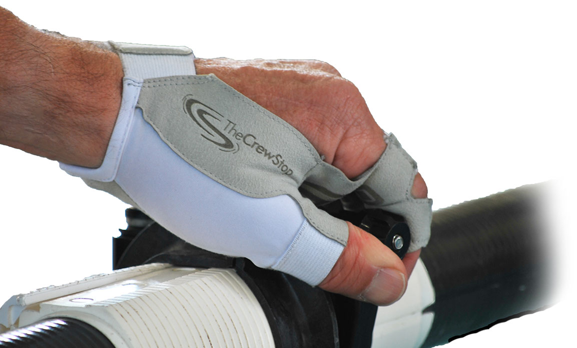 rower wearing gloves