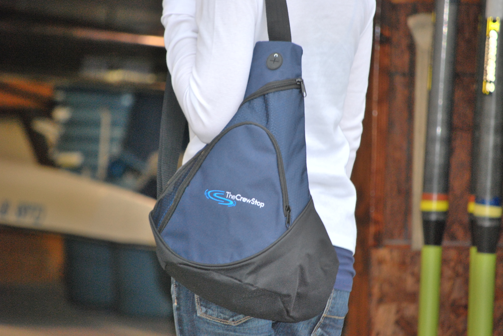 navy rowing sling pack