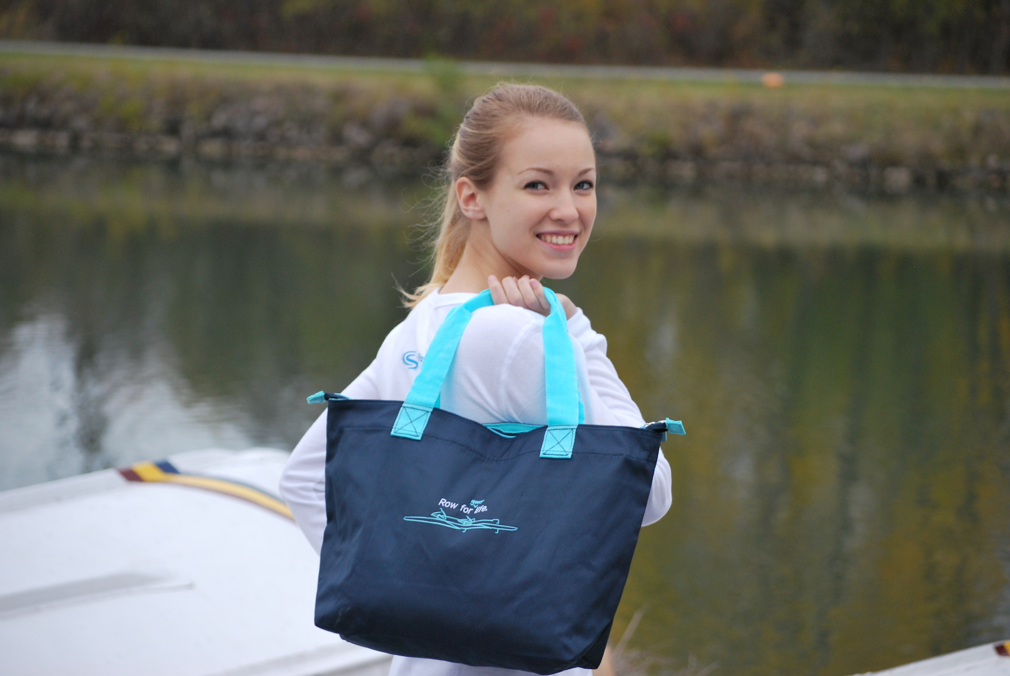 navy rowing tote